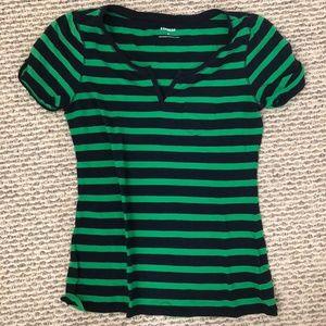 Tops - Black & Green Striped Tee